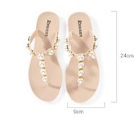 Wholesale Super Soft Silk Fabric - Beach Pearl slippers New arrived Top Quality Luxury brand Soft feather silk Beach FLat Women Super lightweight Slippers Plus Size
