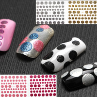 Wholesale Polka Sticker - Wholesale- 1 Sheet Polka Dot Glitter Shine Nail Art Stickers Decals 10 Colors 3D Sticker Create Your Own Style