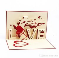 Wholesale Valentine Birthday Cards - Greeting Card 3D Pop Up Cards Love Tree Heart Valentine Lover Happy Birthday Greeting Card DHL free ship