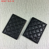 Wholesale Pickup Covers - 2017 The new classic ling black lamb pickup package Caviar black color golden hardware passport packages women wallet