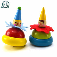 Wholesale Cute Wooden Pegs - Wholesale- MQ Cute Wooden Clown Rotating Whipping Gyroscope Spinning Top Peg-Top Toy