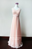 Wholesale Wholesale Maid Honor Dresses - Glamorous 2017 A-Line Pink Long Bridesmaid Dresses Under 50 V-Neck Zipper Back Flowing Chiffon Cheap Maid of the Honor Wedding Guest Dress