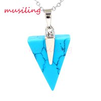 Wholesale Triangle Gem - Crystal Triangle Pendants Necklace Chain Gem Stone Pendulum Jewelry Silver Plated Charms Malachite Amethyst etc Fashion Accessories Jewelry