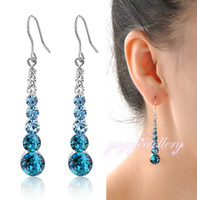 Atacado Neoglory Charm Auden Rhinestone Beads Crystal Long Drop Earrings Para Mulheres Fashion Jewelry Multicolor