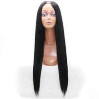 Wholesale Brazilian Yaki Wigs - long straight U part wig Human Wigs Yaki Human Hair Wig Upart Brazilian Human Virgin 130 density