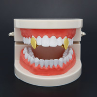 ingrosso griglia a goccia-New Silver Gold Plated Forma goccia d'acqua Hip Hop Single Tooth Grillz Cap Top Inferiore Grill per Halloween Party Jewelry