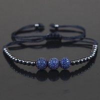 Atacado-Brand New Men Bracelets, 8mm Micro Pave Blue CZ Beads 4mm Black Round Ball Copper Beads Braiding Macrame Bracelet, Jóias Gift
