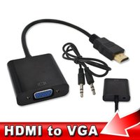 Adaptador de video HDMI VGA de macho a hembra HDTV CRT Monitor de TV para XBOX 360 PS3 HDMI a VGA Conector de adaptador de cable de audio de 3,5 mm