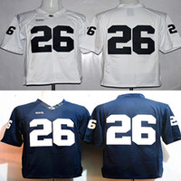 654b89cd3 Youth 26 Saquon Barkley college Penn State jerseys white navy blue kids  boys size football free shipping stitched with name on back