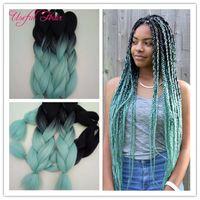 Braided hair bundles 24inch 2x Jumbo BRAIDS SYNTHETIC braiding hair two tone ombre color crochet extensions box crochet braids hair marley