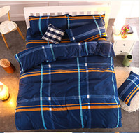 Wholesale Checked Bedding Sets - Hot! New Style plaid 4pcs Bedding Set Dovet Cover Flat Sheet Pillow Case Queen Size Comfortplus Soft Warm Bedding Supplies