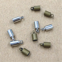 100pcs / lot Size 3.5mm Hole Original Bronze / Rhodium Plated Rope End Caps Vintage Crimp Beads Covers Leather Clasps