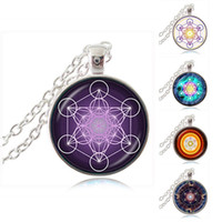 Wholesale cube link - Purple Metatron Cube Pendant Necklace Sacred Geometry Jewelry Glass Cabochon Magic Hexagram Geometric Necklace Flower of Life Jewelry Gift