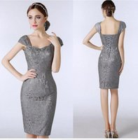 Wholesale Grey Sheath Knee Length Dress - Lace Silver Grey Mother of The Bride Dresses Knee Length Sheath With Capped Short Sleeves Custom Made Plus Size Women Evening Dresses Party