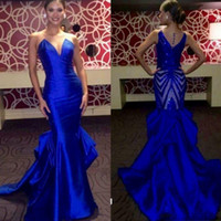 ingrosso miss rosa abiti-Eleganti abiti da sera blu Royal Sheer Neck Sleeveless Satin Mermaid Prom Dresses Back Paillettes 2017 Miss USA Pageant Party Dress