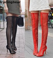 Wholesale Size 32 Boots - Big size 32 to 44 sexy high heel thigh long boots zipper lacing hollow out over the knee boots men and women