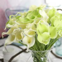 gelin düğün buketi mor toptan satış-13 Renkler Vintage Yapay Çiçekler 9 adet / grup Mini Mor Beyaz Calla Zambak Buketleri Gelin Düğün Buket Dekorasyon için Sahte Çiçek