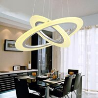Wholesale Luxury Chandeliers For Dining Rooms - Luxury Modern 3 Rings Chandeliers LED Circle Chandelier Lights for Living Room Bedroom Chandelier Lighting White Acrylic Pendant Lamp Lights