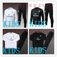 Wholesale Kids Football Suits - HAVE SPONSOR 2017 kids Real Madrid survetement football KIDS tracksuits 2018 Ronaldo Long pants wear YOUTH training suit jacket kit