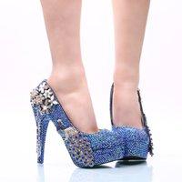königliche blaue schuhe für frauen hochzeit großhandel-Royal Blue AB Kristall Brautkleid Schuhe mit Phoenix Frauen High Heels für Party Strass Braut Schuhe Cinderella Prom Pumps