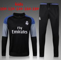 Wholesale Children S Wear Boys - 2016 2017 Kids Long Sleeve Chelsea city Real Madrid Tracksuit Jogging Boys Soccer kit Football Suits Youth Sport Wear Children Ronaldo train
