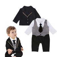 Wholesale Toddler Boys Party Clothes - Baby sets fashion toddler kids long sleeve fake two piece romper+suit coat 2 pc clothing sets 2017 children birthday party clothes T3729