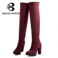 Wholesale heels boots size 32 - Wholesale- BONJOMARISA New Big Size 32-43 Autumn Winter Shoes Women Over Knee Thigh High Boots Sapatos Femininos High Heels Flock Zip Boots