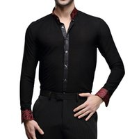 Wholesale Hot Latin Men - Hot Sale Men's Latin Dance Top Long Sleeve Shirts Dance Ballroom Dance Dress Lapel Stand Collar Clothes UA0190
