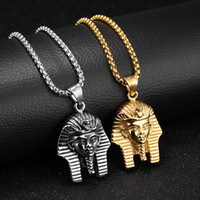 Wholesale Birthday Necklaces For Men - Vintage Retro Men Necklaces Egyptian Pharaoh Pendants Chain Necklace Masquerade Party Stainless Steel Jewelry Birthday Gift for Boyfriend