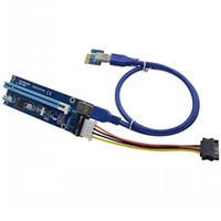 pci ifade 1x kartlar toptan satış-PCIe PCI-E PCI Express Yükseltici Kart 1x için 16x USB 3.0 Veri Kablosu SATA 4Pin IDE Molex Güç Kaynağı için BTC Madenci Makinesi DHL ücretsiz kargo