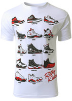 Wholesale Mens Kicks - Mens Hipster The Retro Kicks Cute Print Newest 2017 men's fashion short printed t-shirts funny tee shirts O-neck popular tops Cheap sold