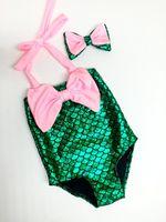 caçoa o swimsuit da sereia venda por atacado-Bebê Meninas verão Swimwear Bebê Swimsuit Ruffle / Bow Princesa duas Peças Swimwear Bonito Roupas de Bebê Meninas Crianças Sereia one-piece swimsuit