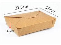 Wholesale 21cm cm Disposable Boxes Kraft Paper Box Take out Foldable boxes high quality packing boxes carton