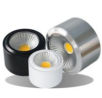 Wholesale Dimmable Led Downlight Housing - Wholesale- 1pc Free Shipping Surface Mounted LED Downlight COB Dimmable 7W 10W LED Down Lights AC110V 220V White Black Silver Housing Color
