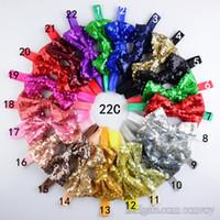 Wholesale Wholesale Sequin Headbands - 22 Colors 4inch Baby bowknot sequin hair bow headband,sequin Xmas headband,flopny bow headband,glitter bow headbands,baby headwraps KHA298