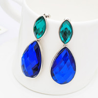 Wholesale Gold Blue Gem Earring - Pop Blue Gem Crystal Pendant Long Earrings Ear Stud Ear Clip For Lady Luxurious Party Jewelry New Arrival Valentine's Gift Accessories