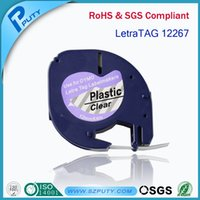 ISO9001/ISO14001/ROHS 12 Months Yes 5pcs 12267 12mm*4m Black on Clear Dymo Plastic LT label tape 100% Compatible for DYMO LetraTag Label Printers