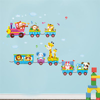 Wholesale Train Wall Art - pvc Creative DIY wall sticker for kids room Carved Removable kindergarten stickers cute Elephant train animal Decorating 2017 Wholesale