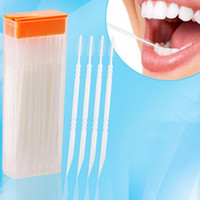 Wholesale Dental Packing - Wholesale- 50pcs pack 2 way Oral Dental Plastic Tooth Pick Interdental Brush Toothpicks with Portable Case Color Random