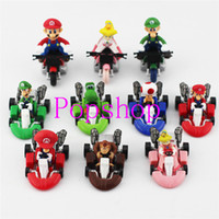 Wholesale Mario Car Pull Back - Hot Sale!20pcs 2set Super Mario Bros Kart Pull Back Cars Mini Cars Gift For Children Free Shipping