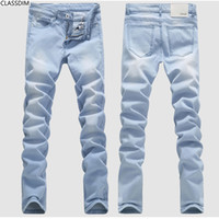 Wholesale Classic Denim Jeans - Men's summer hole light-colored cotton slim jeans male full Length straight Denim trousers Youth popular style Size 28-36