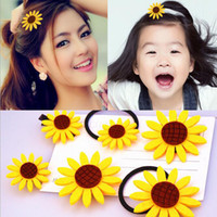 Wholesale Hair Accessory Sunflower Clip - Korean Girls Cute Sunflower Flower Hair Clip Headbands Baby Woman Hairpins Kids Children Floral Hair Rubber Accessories ZA2521