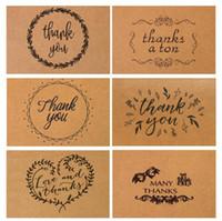 tebrik kartı kraft toptan satış-15 * 10 cm Vintage Kraft Kağıt Teşekkür Kartpostal Zarf Ile Teşekkür Tebrik Kartı En Iyi Mutlu Doğum Günü
