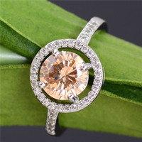 Wholesale Fantastic Wedding - Free Shipping 925 Sterling Silver Champagne Cubic Zirconia Fantastic Womens Ring Size 6 7 8 9 10