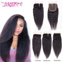 Wholesale Hair Li - Mongolian Virgin Human Hair Kinky Straight 4x4 Lace Closure Kinky Straight Hair Weaves Natural Color Full Density From Li&Queen Hair