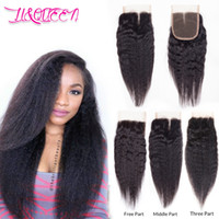 Barato Cabelo Virgem Mongol Kinky Em Linha Reta-Mongolian Virgin Human Hair Kinky Straight 4x4 Lace Encerramento Kinky Straight Hair Ternos Natural Color Densidade Completa De LiQueen Hair