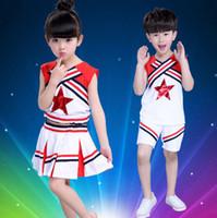 Wholesale Costumes For Students - Children Girl School Uniforms Set Kid Girls Student Jazz Costumes Suit Girl Cheerleader Suits Girl Cheerleading Costumes For Girls