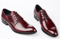 Wholesale Comfortable Mens Black Dress Shoes - Concise Comfortable Genuine Leather Business Mens Shoes Lace-Up Pointed Toe Fashion Work Shoes 2016 Autumn Formal Wear Man Shoes