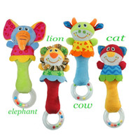 Wholesale Wholesale Plastic Baby Elephant - New Kid Lion Cat Cow Elephant Hand Bell Bed Stroller Doll Animal Baby Rattle Toys