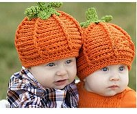 Wholesale Hand Made Hat Baby - Halloween newborn Pumpkin Hat hand made Knitted Baby Bernat infant crochet hats Festival Christmas Costume props hats
